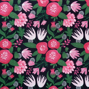 Garden Party with Pink Flowers fabric - 100% Cotton - Price per half metre