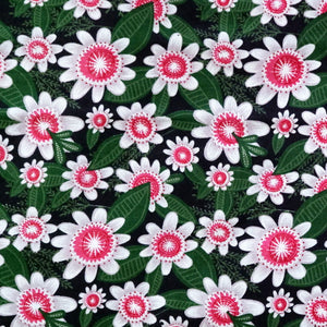 Garden Party with White Flowers fabric - 100% Cotton - Price per half metre