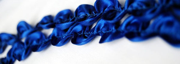 Royal Blue Satin Ric Rac Trim - Price per metre