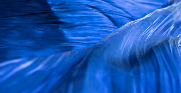 Midnight blue soft crinkle organza - Price per metre