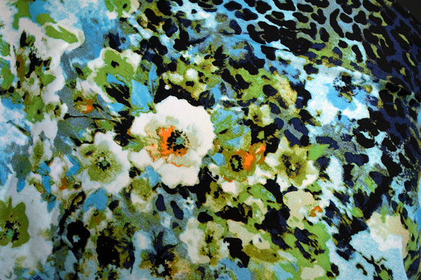 Printed Cotton Sateen fabric with blue Cheetah and floral print - Price per metre