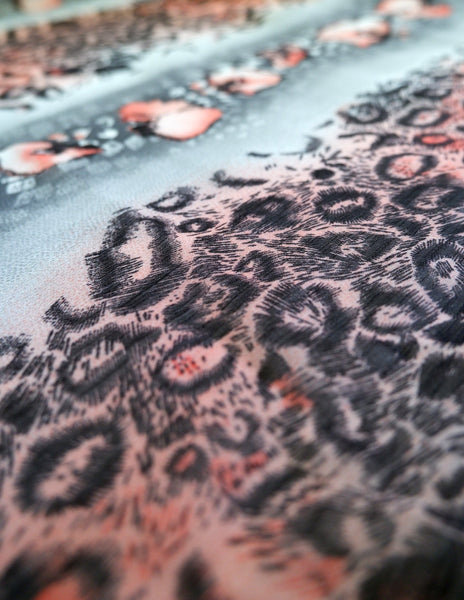 Pink leopard skin print chiffon, pink black and grey animal print - Price per metre