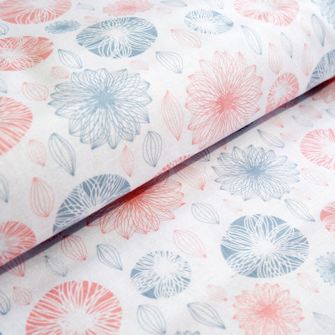 Modern Floral fabric - 100% Cotton - Price per half metre