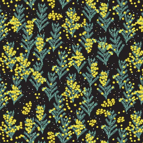 Wattle flowers on black - 100% Cotton - Price per half metre