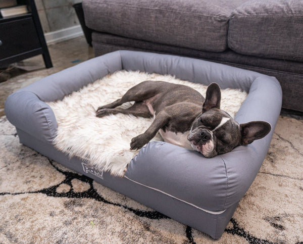 Dark Grey Shag Fuax Fur Kennel Cushion Improved Sleep,Anti-Slip Bottom with detachable Cover for Cats/&Dogs-70cm Rectangle Bolster Pet Sofa,Soft Plush Lounge Cuddler pad Muswanna Plush Pet Bed