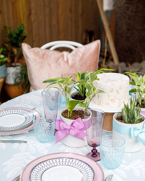 Table setting for a bridal luncheon.