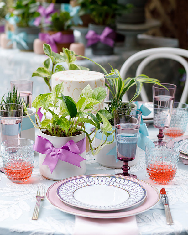 A table setting for a bridal luncheon.