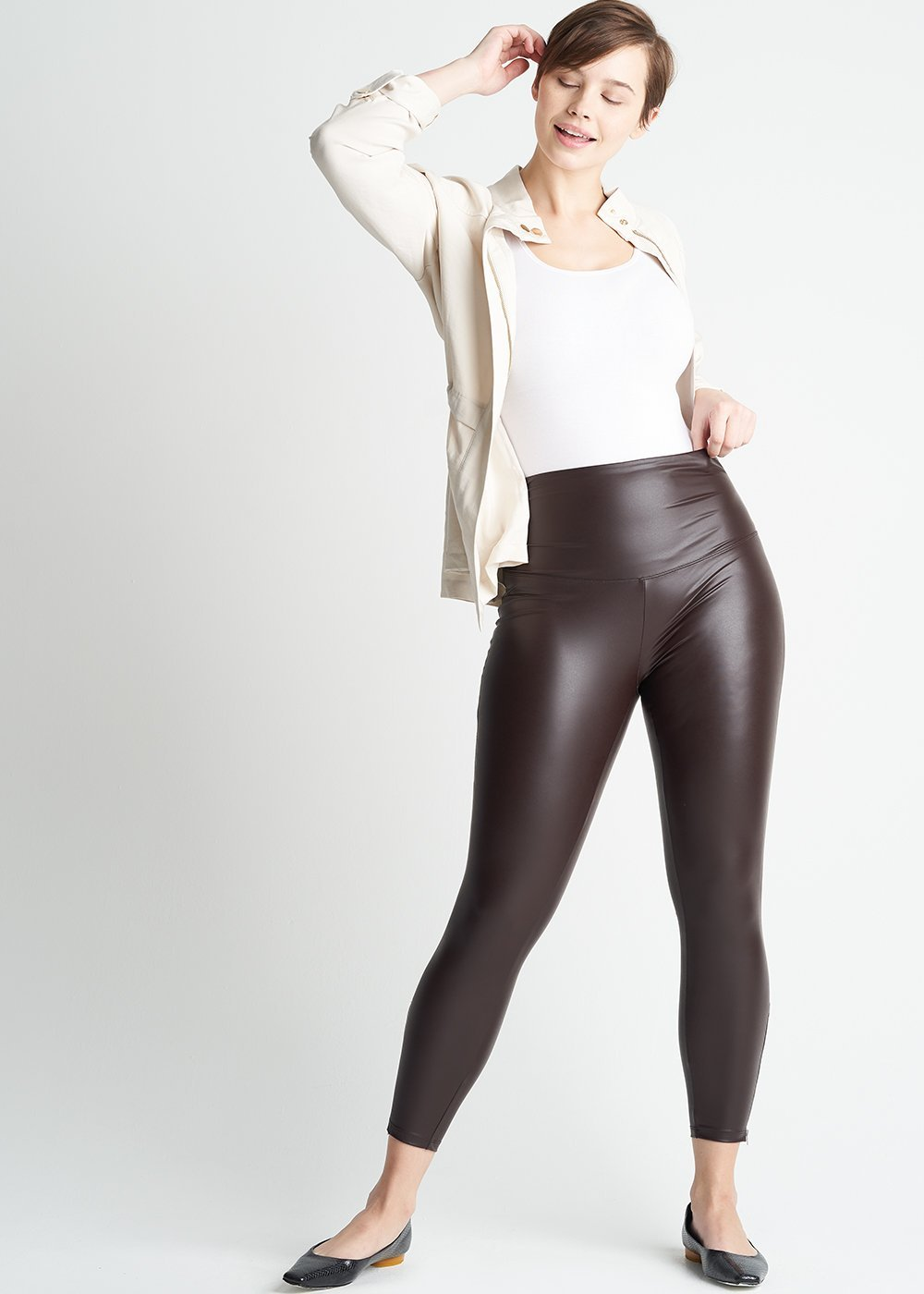Faux Leather Shaping Legging with Side Zip