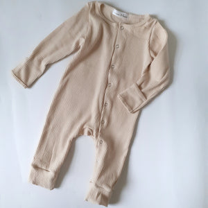 ASPEN Footless Ribbed Romper - Oatmeal