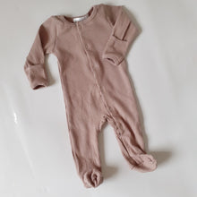Load image into Gallery viewer, EDEN Footed Ribbed Romper - Taupe