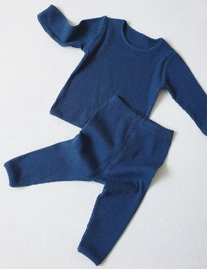 Dark blue baby toddler ribbed lounge wear set