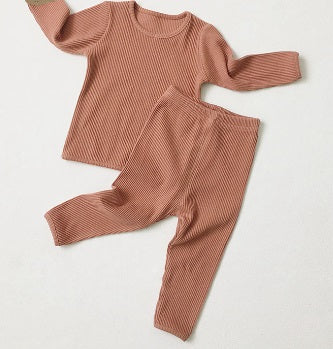Blush pink ribbed baby toddler lounge wear set