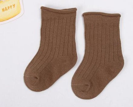 Coffee Ribbed ankle socks for baby and toddler