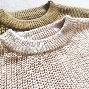 Knitted sweater baby toddler cosy cream beige