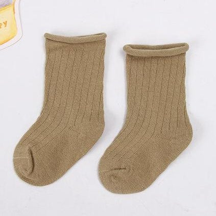 Khaki Ribbed baby toddler ankle socks