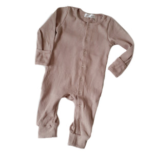 ASPEN Footless Ribbed Romper - Taupe