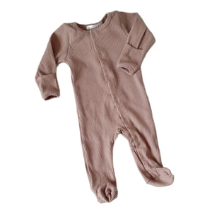 EDEN Footed Ribbed Romper - Taupe