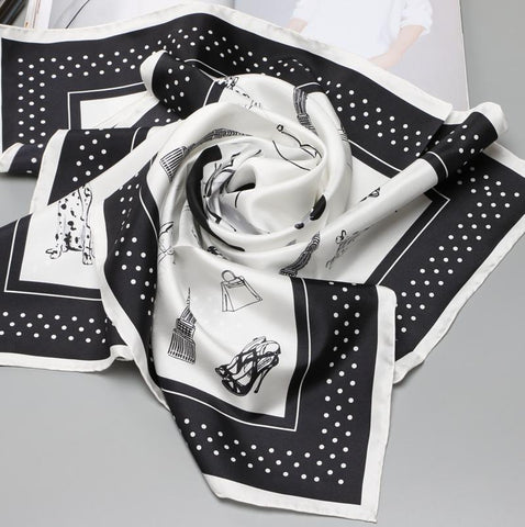 black & white women's fashion silk square scarf