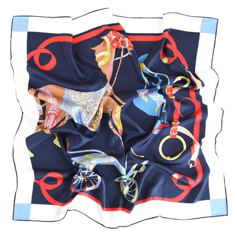 navy pure silk women's square scarf for hair