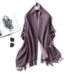 Posh Style Reversible Cashmere Blanket Scarf & Travel Wrap