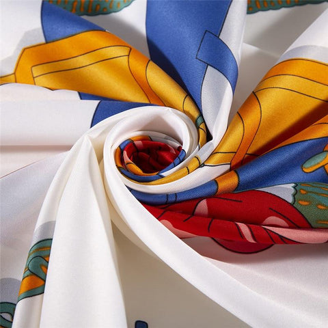 large colorful pure silk square scarf