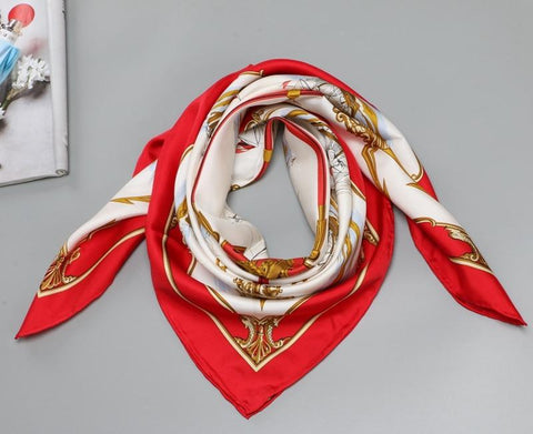 women's luxury square silk scarf in red