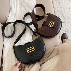 Faux Leather Small Crossbody Saddle Bag - Fashion Mode Gallery