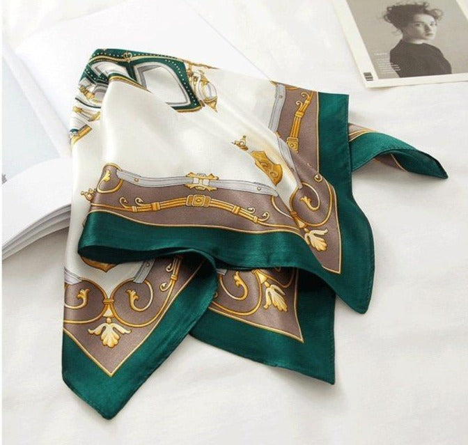 Pure Silk Emerald Vintage Bandana - Fashion Mode Gallery