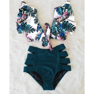 High Waist Cut Out Ruffle Swimsuit - Fashion Mode Gallery