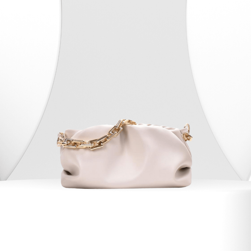 Harper - Pleated Pouch Bag With Gold Chain Strap - Fashion Mode Gallery
