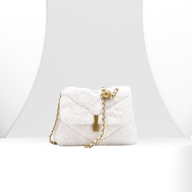 Maxime - Winter Chic Faux Fur Purse With Chain Strap - Fashion Mode Gallery