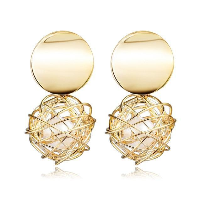 Contemporary Drop Earrings in Gold - Fashion Mode Gallery