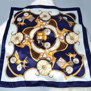 Carriage Print Luxury Satin Silk Scarf - Fashion Mode Gallery