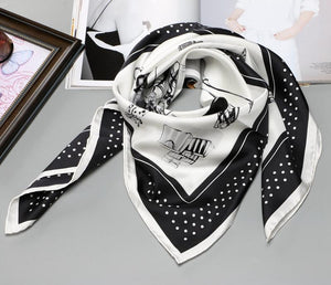 Elegant Black & White Women's Silk Scarf - Fashion Mode Gallery