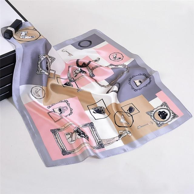 Pink & Grey Pure Silk Women's Bandana - Fashion Mode Gallery