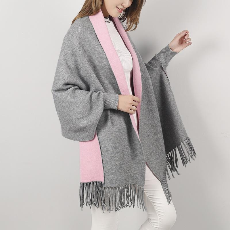 Minimalist Luxury Cashmere Poncho - Reversible Scarf - Fashion Mode Gallery
