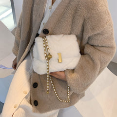 Maxime - Winter Chic Faux Fur Purse With Chain Strap