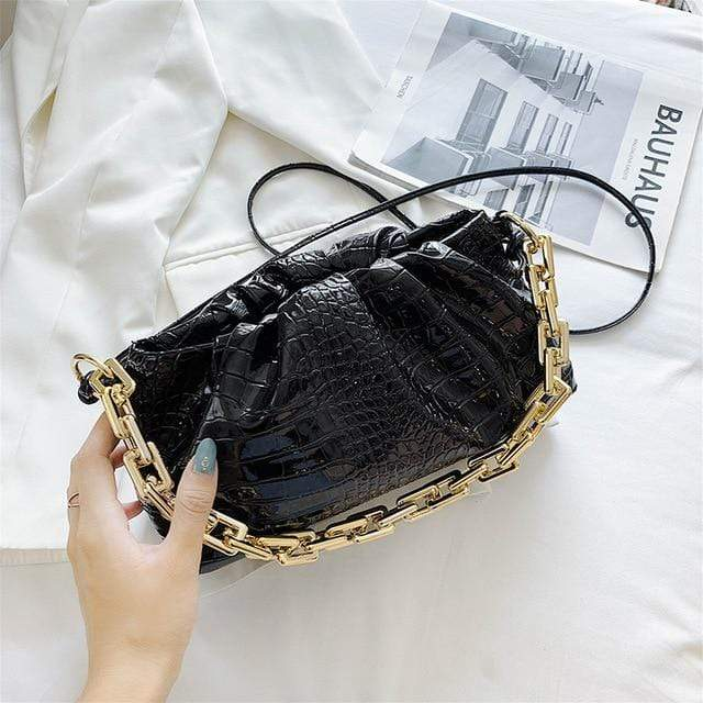 Gigi - Crocodile Pattern Small Vegan Leather Crossbody Bag With an Oversized Gold Chain - Fashion Mode Gallery