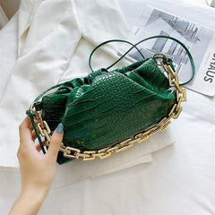Crocodile Pattern Small Vegan Leather Crossbody Bag With an Oversized Gold Chain