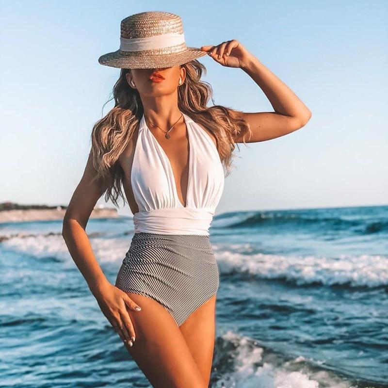 2021 New Sexy One Piece Deep V-neck Bathing Suit - Fashion Mode Gallery