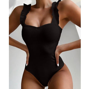 One Piece Ruffle Straps Swimsuit - Fashion Mode Gallery