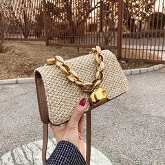 Gia - Straw Crossbody Bag With Chain Handle