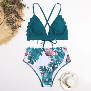 Two Piece Scalloped High Waist Swim Set - Fashion Mode Gallery