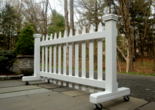 Load image into Gallery viewer, Back of 6 ft Free-standing Wooden Driveway Gate with Lockable Wheels