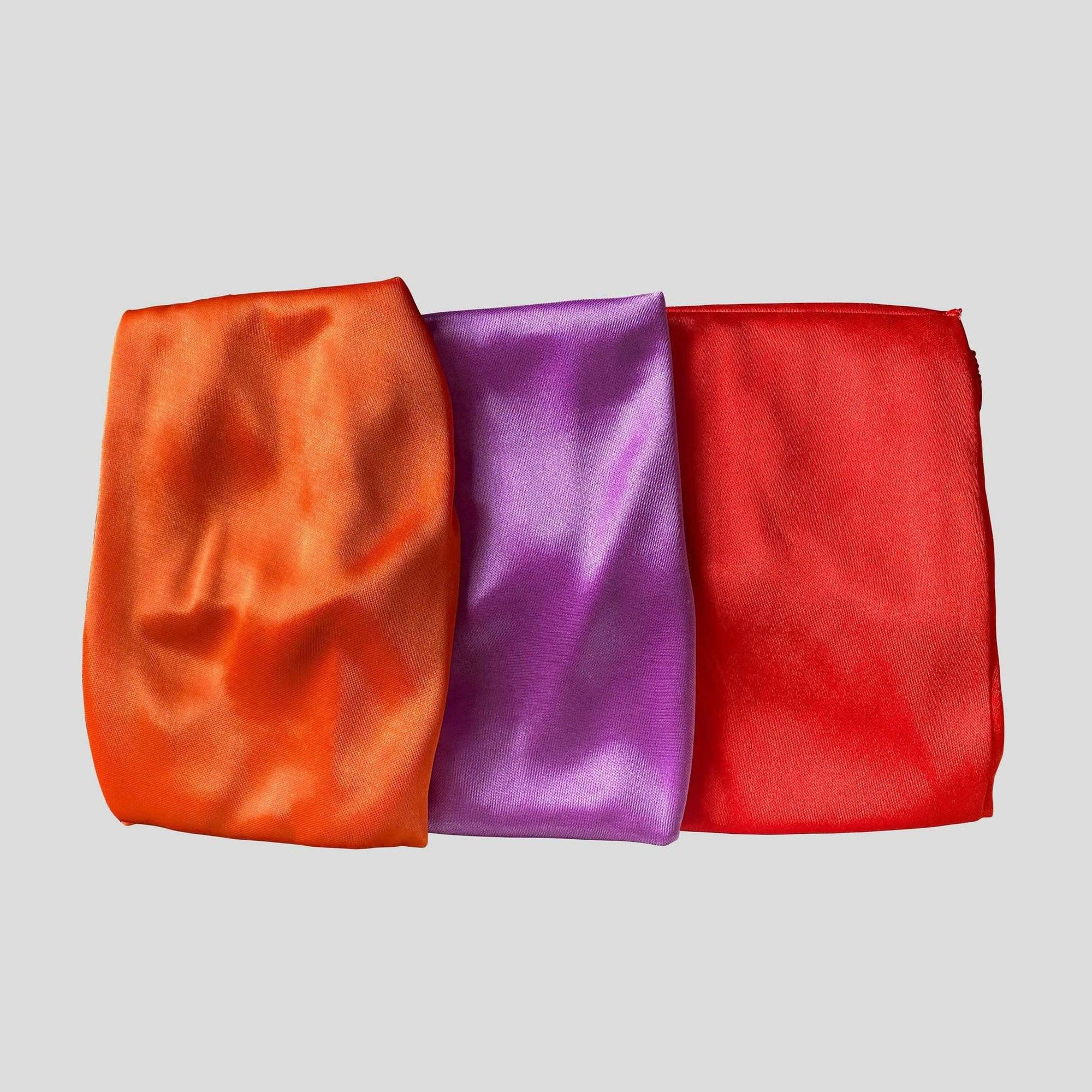 3 Pack Silky Durags (Orange, Red & Purple) - Durag Wave