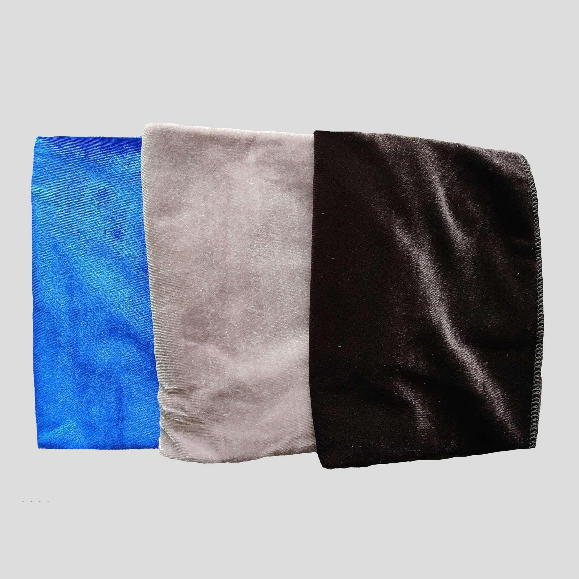 3 Pack Velvet Durags (Blue, Silver & Black) - Durag Wave
