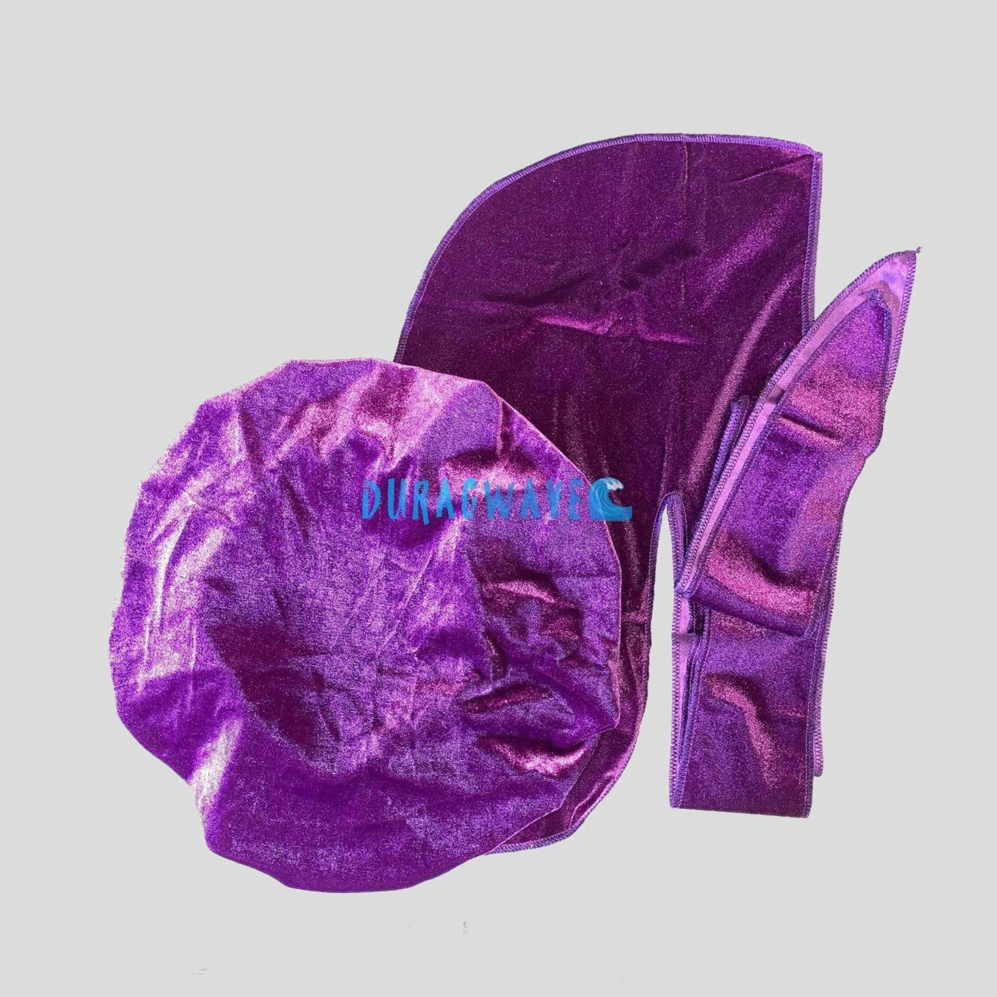 Purple Velvet Matching Durag & Bonnet Set