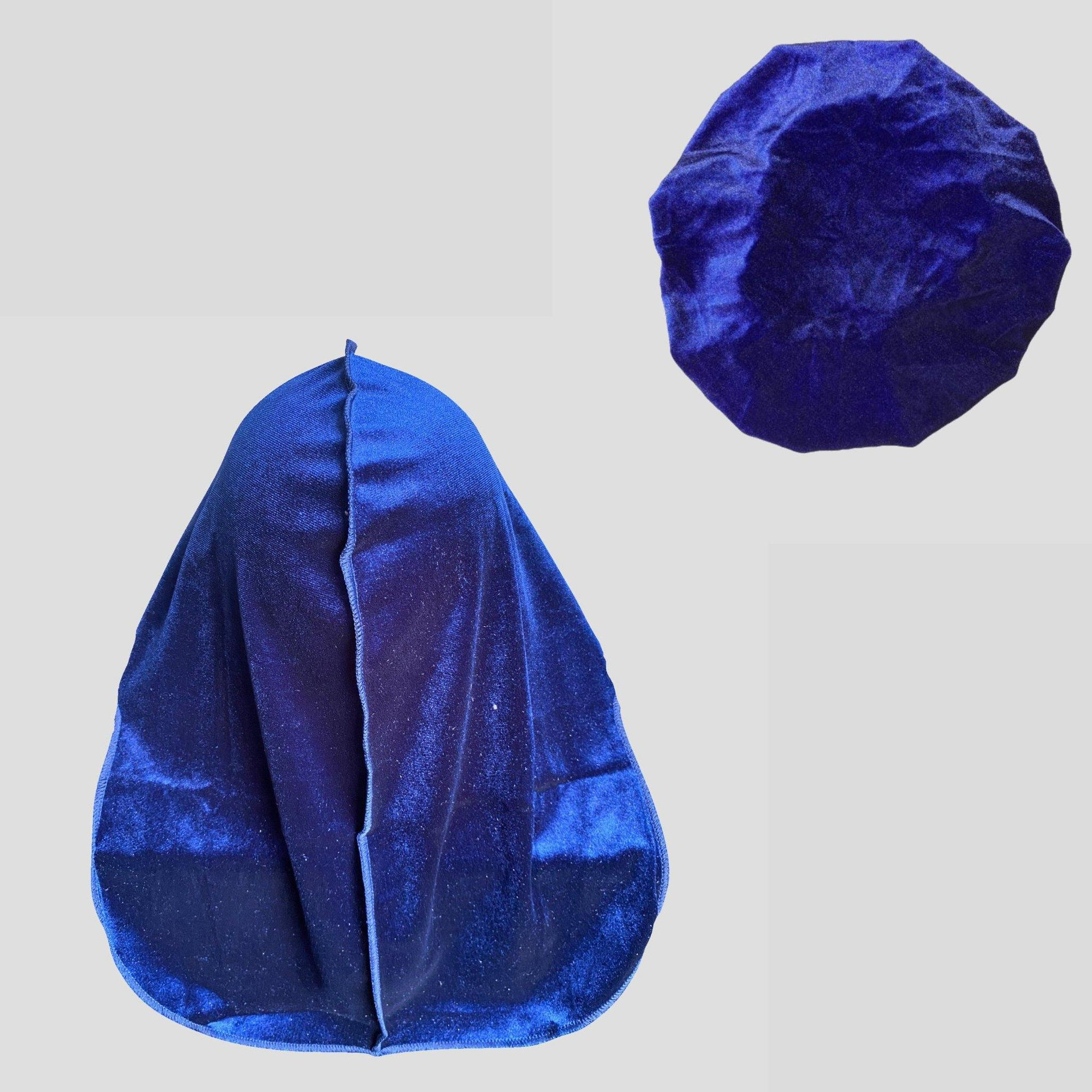 Blue Velvet Matching Durag & Bonnet Set | Durag Wave