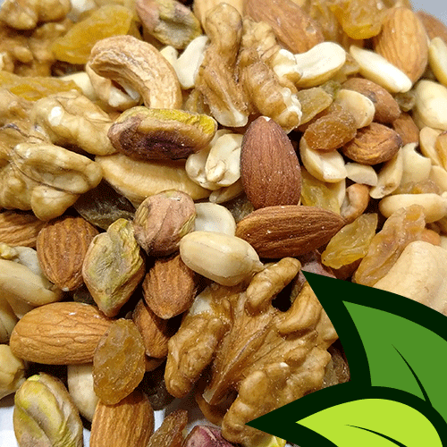 organic trail mix mixed dry fruits and nuts almonds cashew walnuts pistachios peanuts