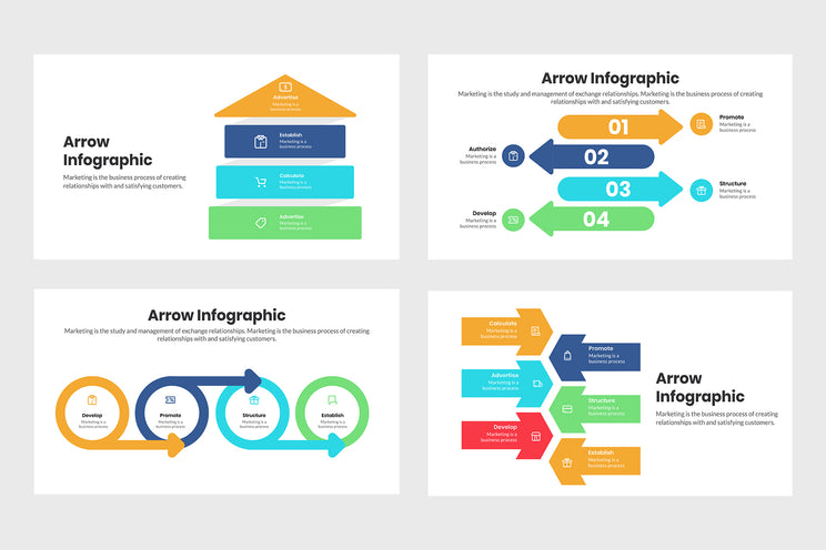 PPT Arrow Infographics Templates for PowerPoint, Keynote, Google Slides, Adobe Illustrator, Adobe Photoshop